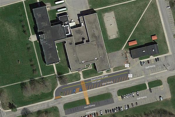 Aerial View of Elementary School Parking