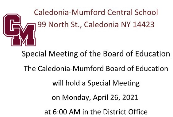 Special BOE Meeting April 26, 2021